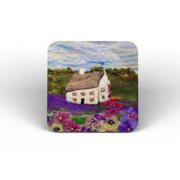 Lavender Cottage cork coaster